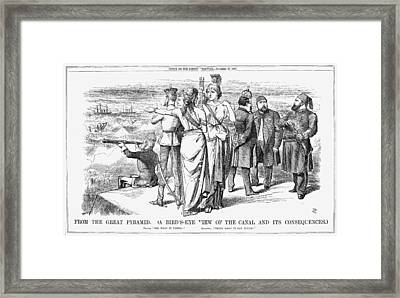Suez Canal Cartoon, 1869 Framed Print