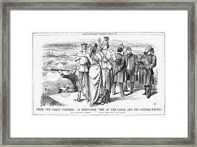 Suez Canal Cartoon, 1869 Framed Print by Granger