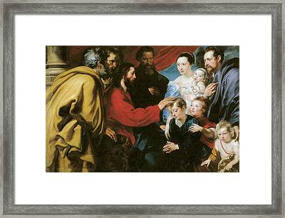 Suffer The Little Children To Come Unto Me Framed Print by Anthony Van Dyke