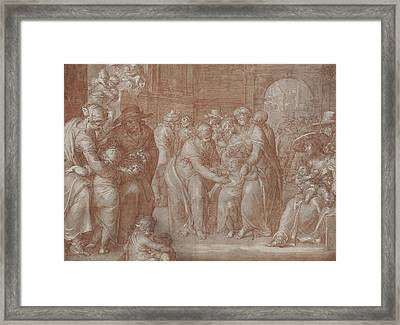 Suffer The Little Children To Come Unto Me Framed Print by Joachim Wtewael or Utewael