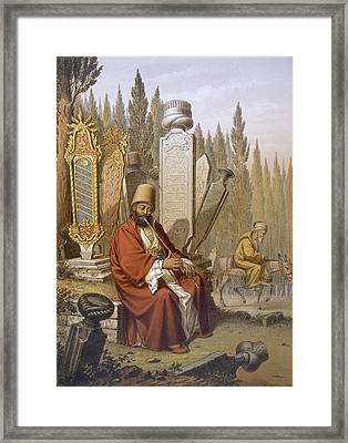 Sufi, Playing The Ney, Sits Framed Print by Jean Brindesi