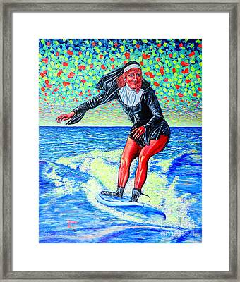 Surfing Nun /god-is Love ...love-is Life/ Framed Print by Viktor Lazarev