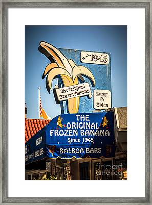 Sugar And Spice Frozen Banana Sign On Balboa Island Framed Print by Paul Velgos