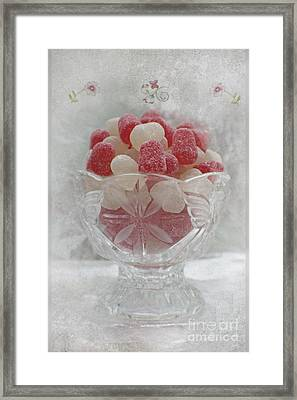 Sugar And Spice Love Red And White Framed Print by Ella Kaye Dickey