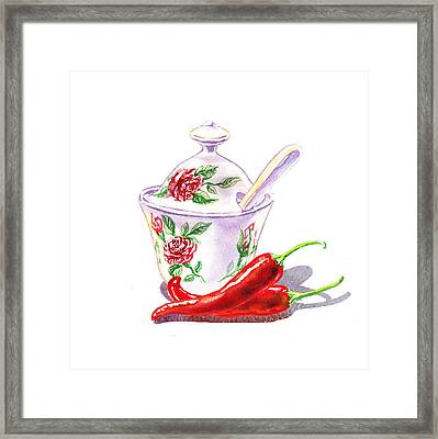 Sugar Bowl And Chili Peppers Framed Print