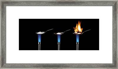 Sugar Burning In Air Framed Print by Science Photo Library