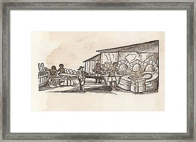Sugar Cane Boiling Framed Print by Middle Temple Library