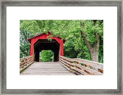 Sugar Creek Covered Bridge Framed Print by Sue Smith