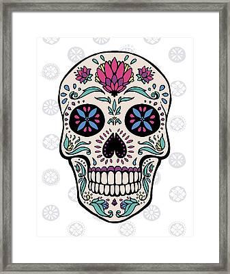 Sugar Skull II On Gray Framed Print by Janelle Penner