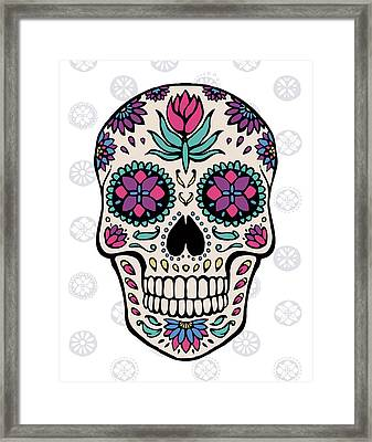 Sugar Skull Iv On Gray Framed Print