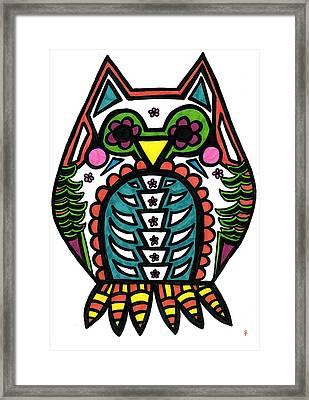 Sugar Skull Owl Framed Print