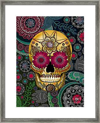 Sugar Skull Paisley Garden - Copyrighted Framed Print by Christopher Beikmann