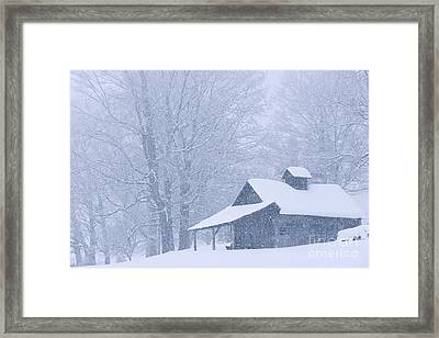 Framed Print featuring the photograph Sugarhouse Snowfall by Alan L Graham