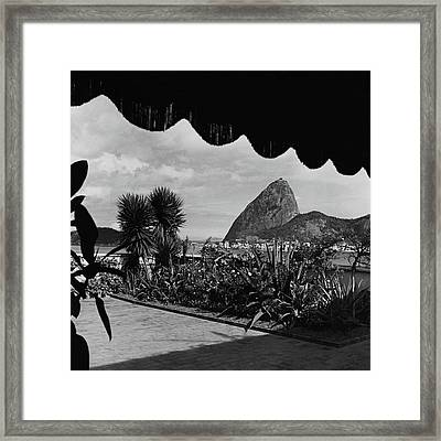 Sugarloaf Mountain Seen From The Patio At Carlos Framed Print by Luis Lemus
