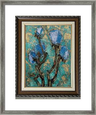 Framed Print featuring the painting suggestion of flowers digital processing  SOFDP2 by Pemaro