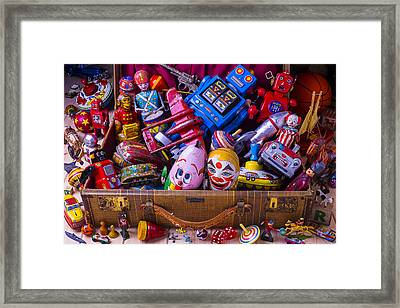 Suitcase Full Of Old Toys Framed Print