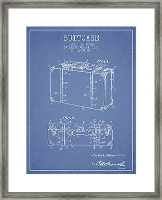 Suitcase Patent From 1928 - Light Blue Framed Print