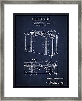 Suitcase Patent From 1928 - Navy Blue Framed Print