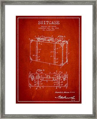 Suitcase Patent From 1928 - Red Framed Print