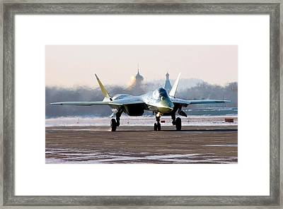Sukhoi T 50 Stealth Fighter Airstrip Framed Print