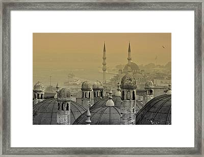Suleymaniye Mosque And New Mosque In Istanbul Framed Print by Ayhan Altun