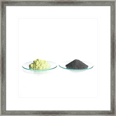 Sulphur And Iron Filings Framed Print by Science Photo Library