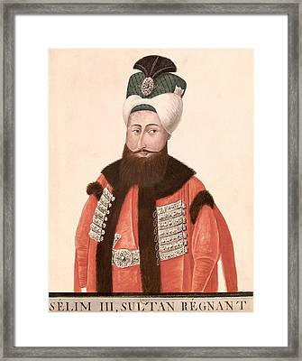 Sultan Selim IIi 1761-1808 18th-19th Century Wc On Paper Framed Print by Turkish School