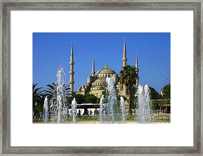 Sultanahmet Camii Blue Mosque Istanbul Turkey Framed Print by Ralph A  Ledergerber-Photography
