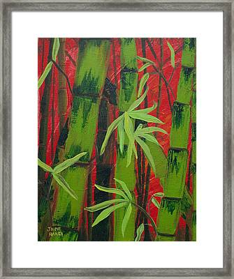Sultry Bamboo Forest Acrylic Painting Framed Print