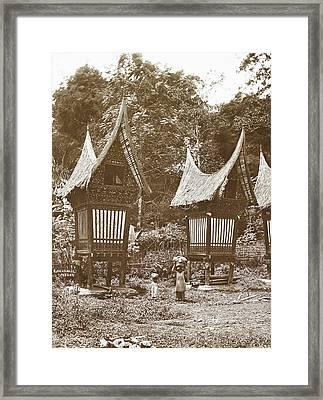 Sumatra Indonesia, Padang Bovenlanden With Padi Sheds Framed Print