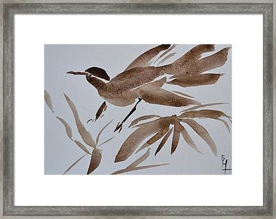Sumi Bird Framed Print by Beverley Harper Tinsley
