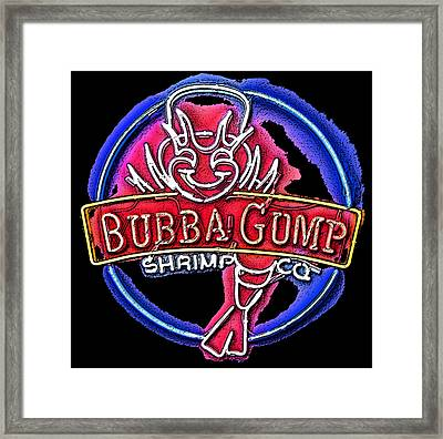 Sumi-e Bubba Gump Sign Framed Print by Marian Bell