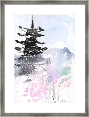 sumie No.10 Pagoda and Mt.Fuji Framed Print by Sumiyo Toribe