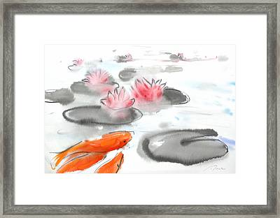 Sumie No.11 Koi Fish And Lotus Flowers Framed Print