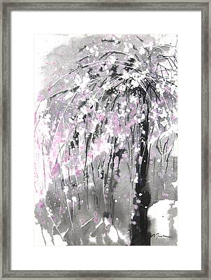 Sumie No.19 Weeping Cherry Blossoms Framed Print