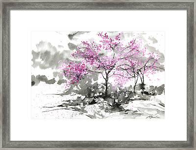 Sumie No.2 Plum Blossoms Framed Print