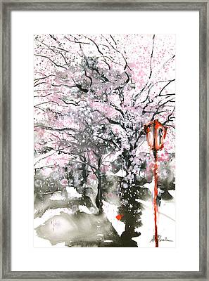 Sumie No.3 Cherry Blossoms Framed Print