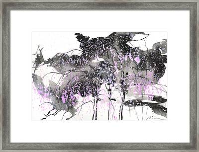 Sumie No.6 Weeping Willow Cheery Blossoms Framed Print by Sumiyo Toribe