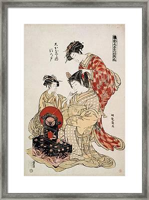 Suminoto Of Okanaya, From The Series Framed Print by Isoda Koryusai