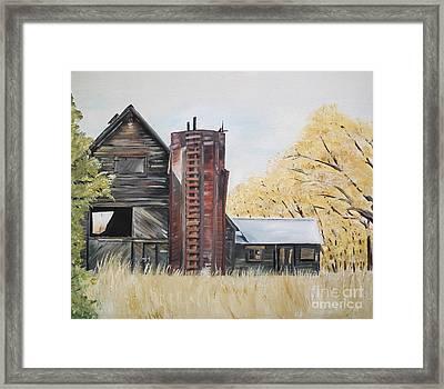 Golden Aged Barn -washington - Red Silo  Framed Print by Jan Dappen