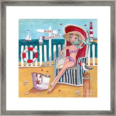 Summer Beach  Framed Print by Caroline Bonne-Muller
