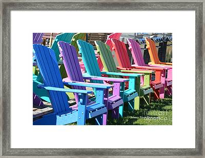 Summer Beach Chairs Framed Print by Jeannie Rhode