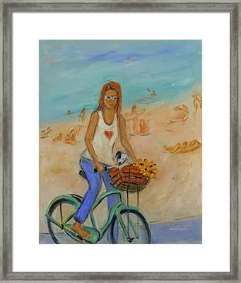 Summer Bicycling By A Nude Beach Framed Print by Xueling Zou