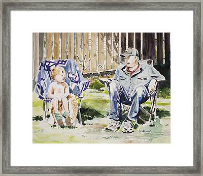 Grandfather  And Grandson Summer Bonding Framed Print