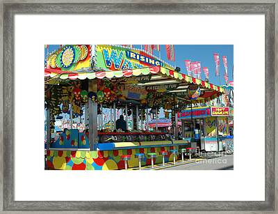Summer Carnival Festival Fun Fair Shooting Gallery - Carnival State Fair Stands Framed Print by Kathy Fornal