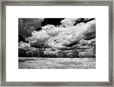 Summer Clouds In Colorado Bw Framed Print