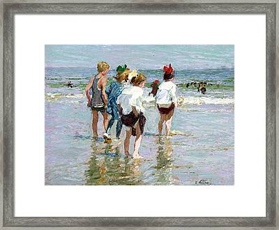 Summer Day At Brighton Beach Framed Print by Edward Potthast