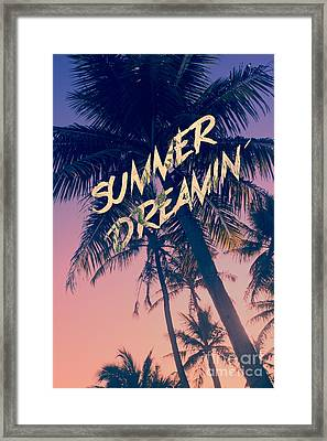 Summer Dreamin Tropical Island Palm Trees Sunrise Framed Print by Beverly Claire Kaiya
