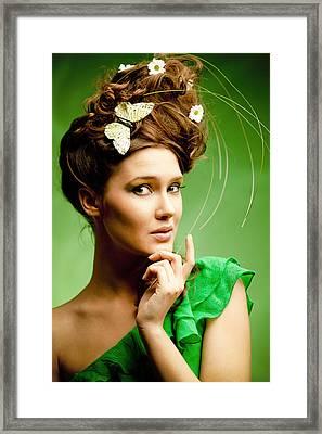 Summer Fashion Woman Portrait Framed Print