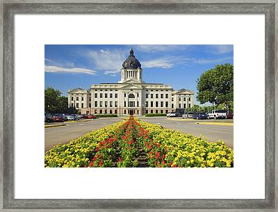 Summer Flower-bed Leading To South Framed Print
